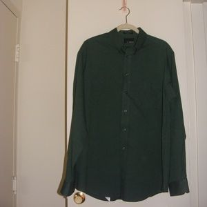 Bill Blass Wrinkle Free Oxford Green Button Down